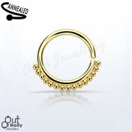 Septum Cartilage/Ear Simple Beaded Ring Annealed Steel Gold PVD