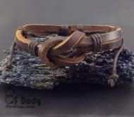 Brown Leather Knot Wristband