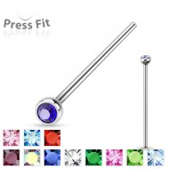 20G/ 18G Fish Tail Bendable Press Fit Gem 316L Steel Nose Pin