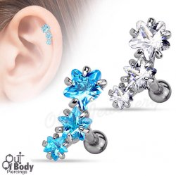 Cartilage/ Helix CZ Pronged Star Triple Row 316L Steel Barbell