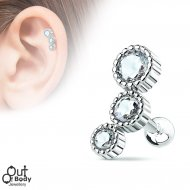 Cartilage/ Helix 3 CZ Set Ripple Row Barbell Earring