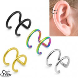 Cartilage/ Helix Ear Cuff No Pierce Double Ring Titanium Plated