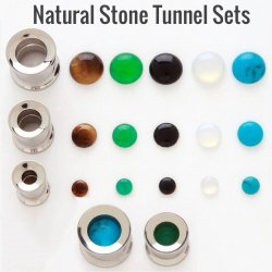 316L Steel Threaded Tunnel W/ Inter-changeable Stone Insert Sets