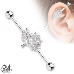 CZ Sparkle Tree Of Life Industrial Barbell In 316L Steel