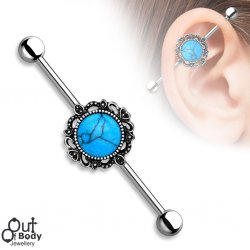 Centered Turquoise W/ Filigree 316L Steel Industrial Barbell