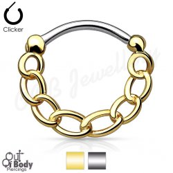 Septum Clicker Round Hinged Chain In Gold IP Nose Ring