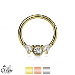 Septum Cartilage/Ear Bendable Hoop Ring W/ Prong CZ