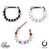 Septum Clicker Hinged Paved Mixed Colours CZ Nose Ring