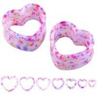 Acrylic Pink Flecked Heart Shaped Double Flare Tunnel