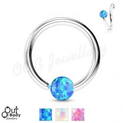 Hoop Nose Ring W/ Opal Ball Fixed On End 316L S. Steel