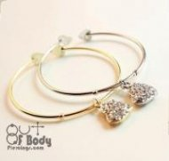 Crystal Heart Bangle in Gold or Silver