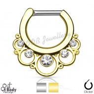 Septum Clicker Round Floral W/ Gems Gold IP Nose Ring