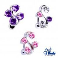 4 Prong CZ Vine Top Down Belly Ring