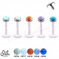 16G Opal Push Fit Top Clear Bioflex Labret Monroe