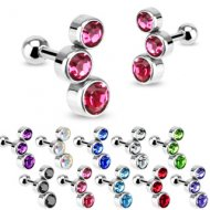 Cartilage/ Helix 3 CZ Bubble Gem Barbell Pair Of Left & Right