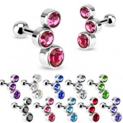 Cartilage/ Helix CZ Bubble Gem Top Barbell In Left/ Right Pair