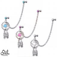 Cartilage/ Tragus Gem Barbells W/ Dreamcatcher & Chain
