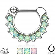 Septum Clicker Hinged Opalite Paved Nose Ring