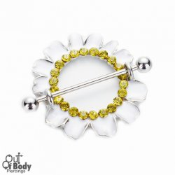 316L Steel Barbell W/ Gem Set White Daisy Nipple Ring Shield