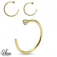 Hoop Nose Open Ring W/ Gem End Ball In IP Gold