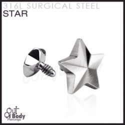 Star Dermal Anchor Tops Internally Threaded 316L Surgical Steel