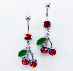 Cherry Red Crystal Cups Belly Rings