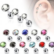 Cartilage/ Tragus Flat Top Disc Gem Barbell 316L Surgical Steel