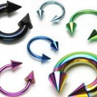 316L Steel Horseshoe/ Circular In IP Titanium Colours W/ Ball