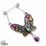 316L Steel Barbell W/ Dangling Butterfly Gem Charm Nipple Ring