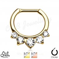 Septum Clicker Daith Princess Drop Pronged CZ IP Gold Ring