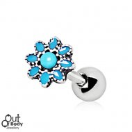 Cartilage/ Tragus Barbell W/ Antique Turquoise Flower Earring
