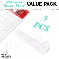20G/ 18G 5pc Value Pack Of Clear Bioflex Flat Top Nose Retainer