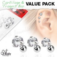 Cartilage/ Tragus Claw Set Clear CZ Round Gem Triple Value Pack