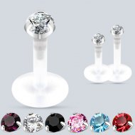 Cartilage/ Tragus Labret Bioflex W/ Push Fit Round CZ Gem Top