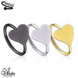 Hoop Nose Ring W/ Heart Top In IP Titanium Colours