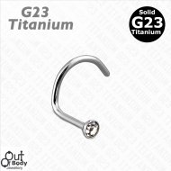 G23 Solid Titanium Flat Top Swarovski Crystal Nose Screw