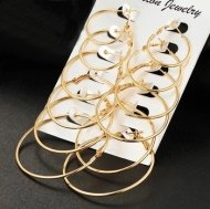 Value Pack 6 Pairs Large Hoop Earrings In Mixed Sizes