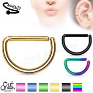 Cartilage Ear/ Septum D Shape Cut Hoop Ring In Titanium Colours