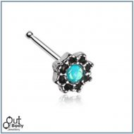 Lotus Flower Filigree W/ Sparkle CZ Nose Stud Bone