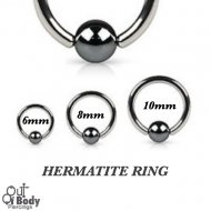 Hoop Captive Bead Nose Ring W/ Hematite Ball In 316L Steel