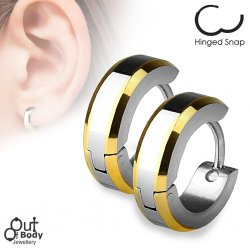 Hoop Earrings Gold Edges W/ Brushed Steel Center 316L S. Steel