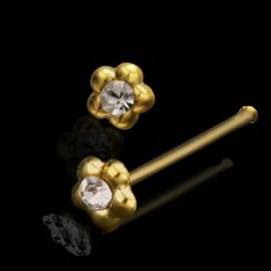 Sterling Silver Rounded Flower Nose Stud Gold Plated W/ Gem