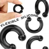 Black Silicon Horseshoe Barbell / Plug