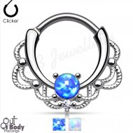 Septum Clicker Round Hinged Looped Lace Single Opal Nose Ring