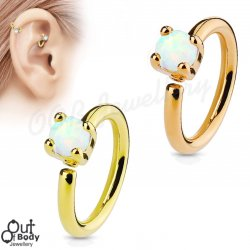 Ear Cartilage Bendable Hoop Ring W/ Prong Set Opal Gold Plated