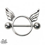 Nipple Ring w/ Winged Circular Shield