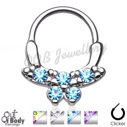 Septum Clicker Round Hinged Cubic Zirconia Butterfly Nose Ring