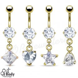 7mm CZ 14KT Gold Plated Navel Ring W/ Mix Shape Dangles