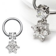 316L Steel Captive 4mm Prong CZ W/ Dangle Gem Paved Flower