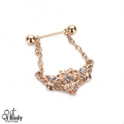 316L Steel Gold Plated Nipple Barbell W/ Tribal Gem Flower Charm